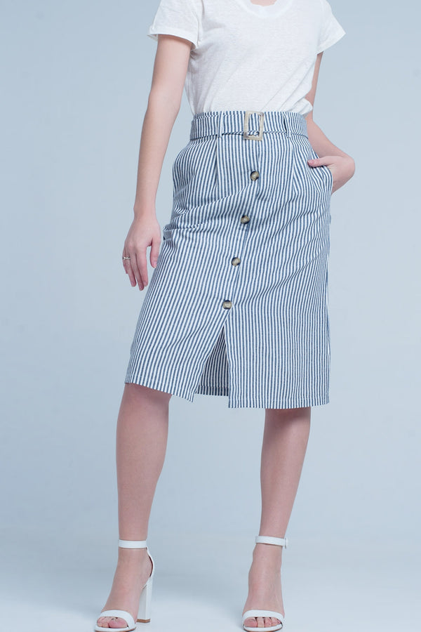 stripe midi skirt with buttons
