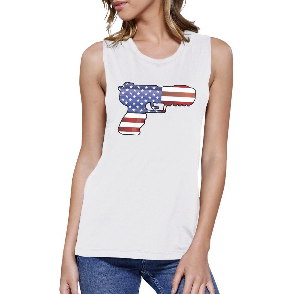American Flag Pistol Womens Muscle Tee Gifts For Gun Supporters