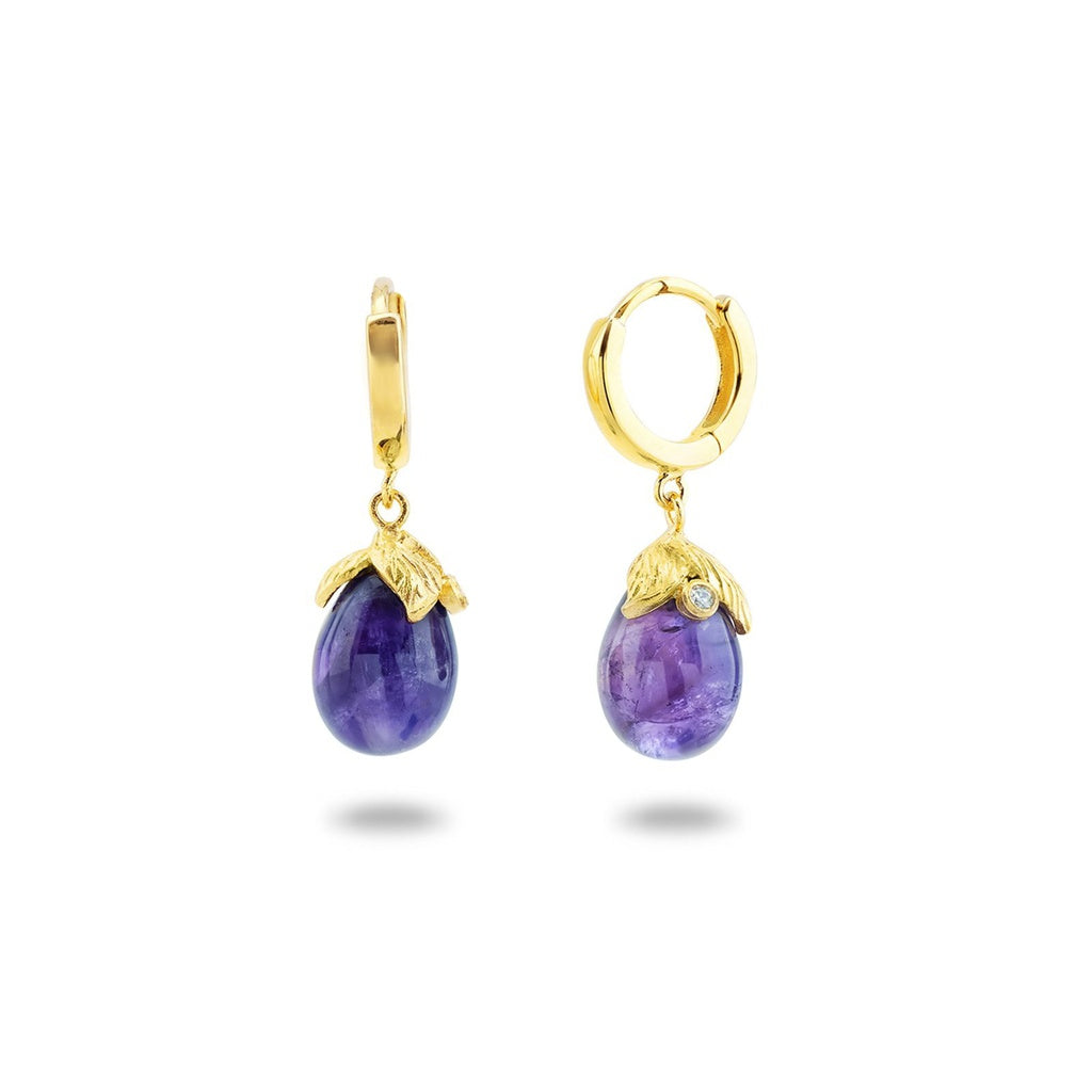 Amethyst Flower Bulb Huggies Earrings in Vermeil