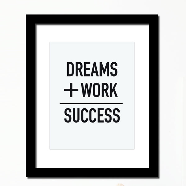 'Dreams+work=Success' Inspirational print