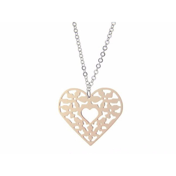 "Filigree Sterling Silver Pink Heart Pendant Necklace, 18""+ 1"""