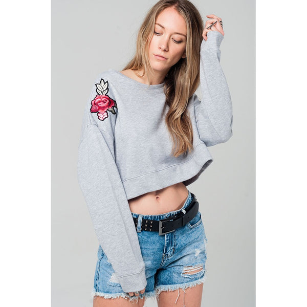 Cropped sweatshirt in gray with floral patch - www.ettuet.com