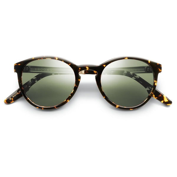 Brooks: Polished Ambercomb Tortoise - Brushed Gold / Green AR Lens