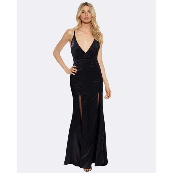 Satin Evening Dress / Front Splits - Black