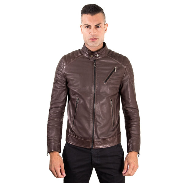 Men's Leather Jacket  genuine soft leather biker quilted yoke dark brown color U411