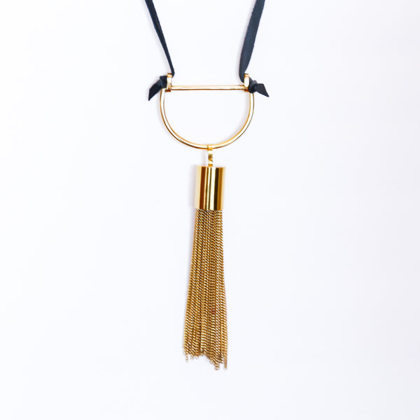 Semi circle chain tassel necklace