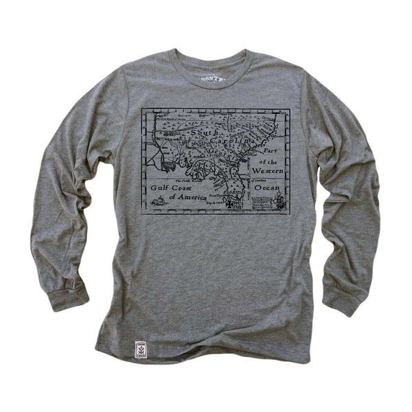Treasure Map: Tri-Blend Long Sleeve T-Shirt in Heather Grey