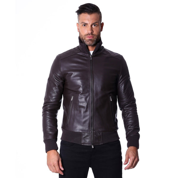 Men's Leather Jacket, genuine soft leather, style bomber, central zip, dark brown color, mod. 107