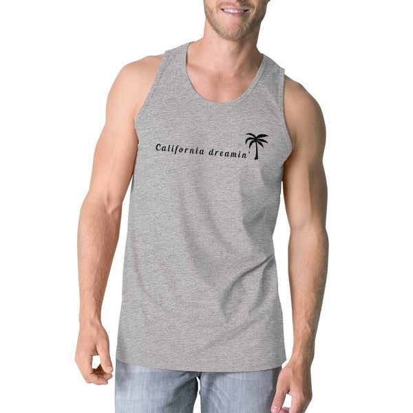 California Dreaming Mens Grey Sleeveless Lightweight Cotton Tanks