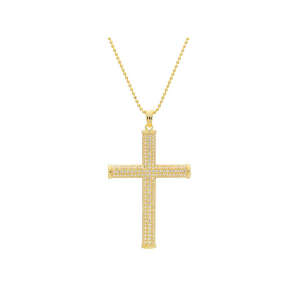 14k Gold Plated Sterling Silver Round Cubic Zirconia Cross Pendant Necklace, 20""