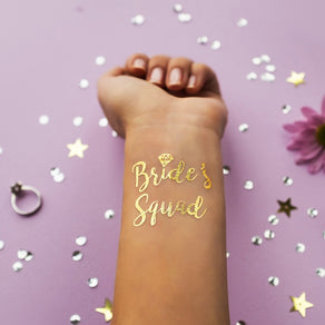 2 PACK Bride's Squad Gold Metallic Tattoo