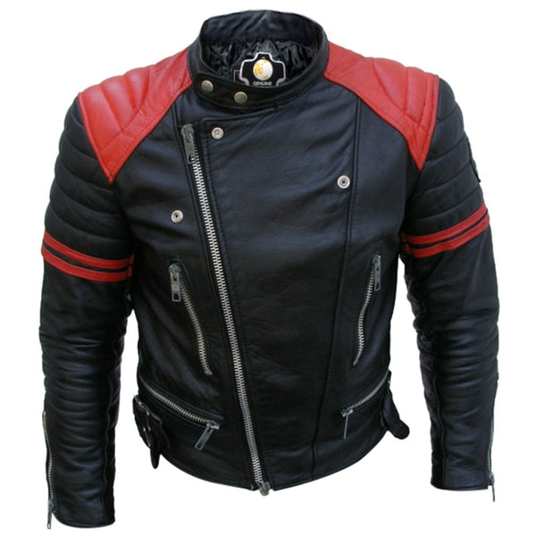 Men Black Red Padded Leather Jacket