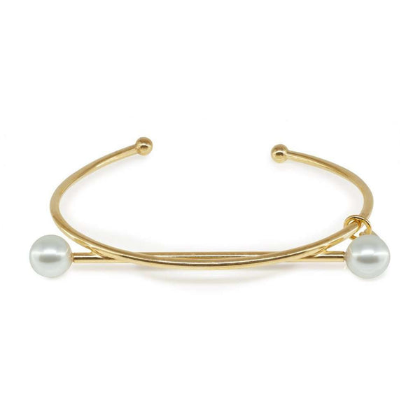 Swarovski Pearls Golden Crossbar Bangle