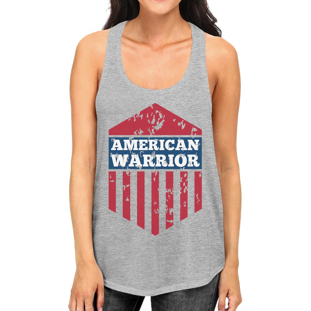 American Warrior Womens Gray Crewneck Graphic Tanks Gift For Her