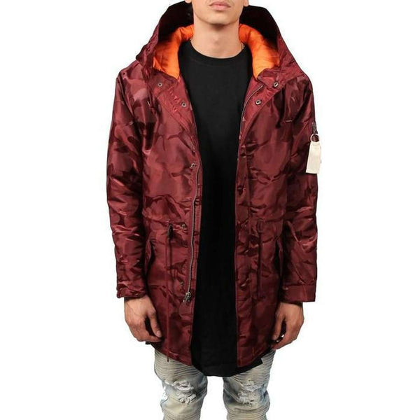 Tonal Fatigue Fishtail Parka (Burgundy)