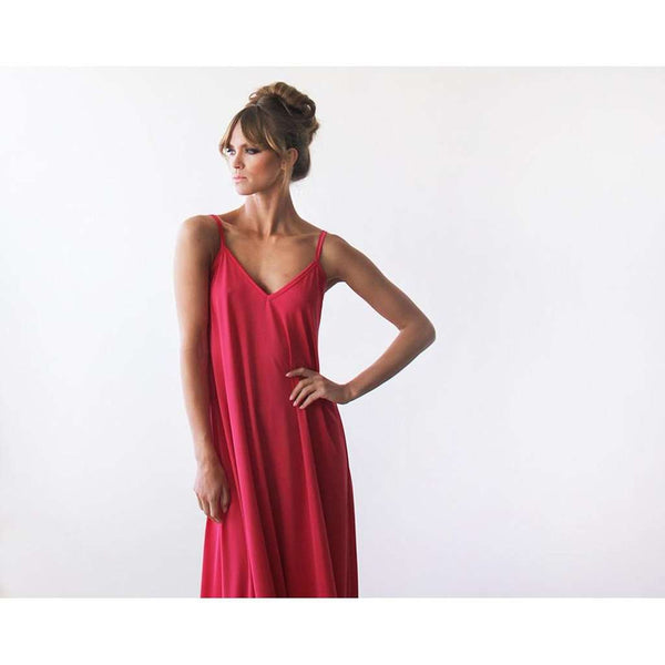 Red Straps Basic Maxi Dress 1026