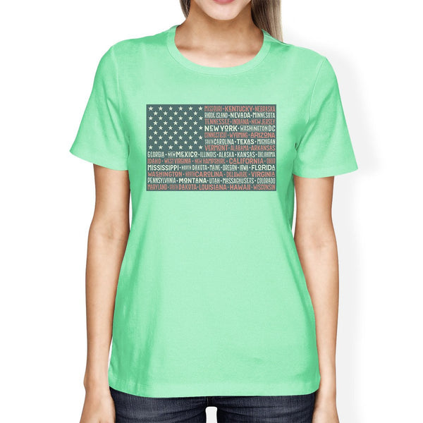 50 States American Flag Shirt Womens Mint Cotton Graphic Tee Shirt