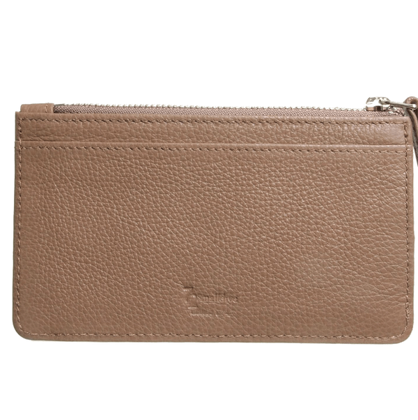 5 CC Grained Calf Leather Zip Wallet Taupe
