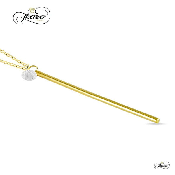 Vertical Bar Necklace, 925 Sterling Silver, 14K Gold Plated Long Bar Pendant