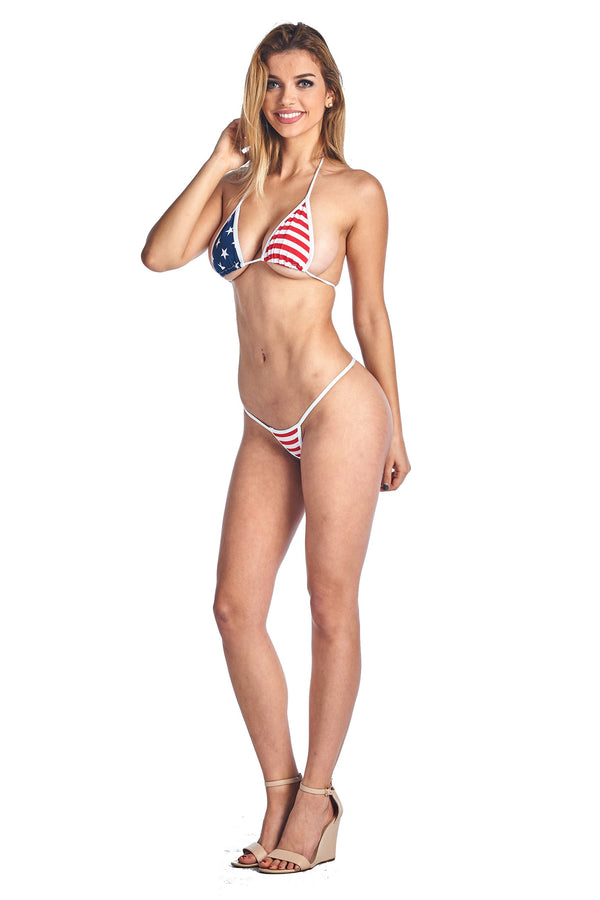 Women's Juniors Bikini USA Flag Micro Thong ToP Swimwear