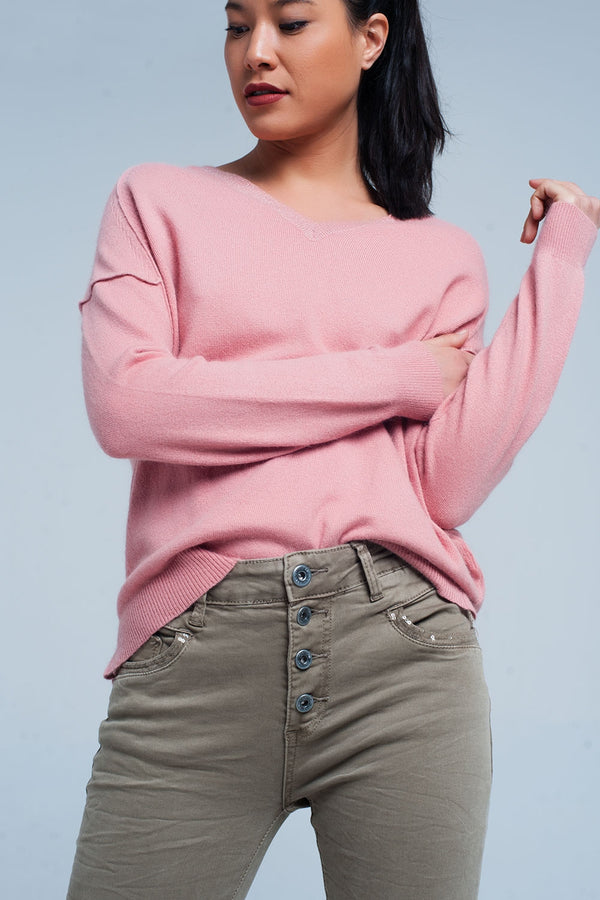 Pink Angora V-Neck Sweater