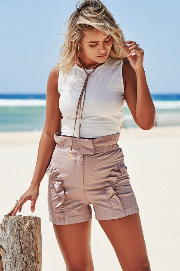 Paperbag Frill Shorts in Dusky Pink