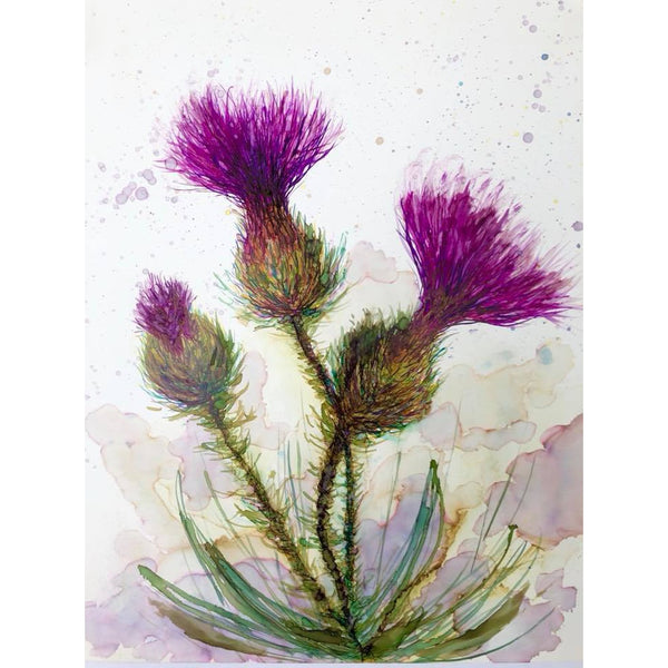 """Three Thistles"" Alcohol ink Painting"