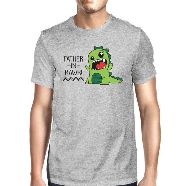 Father-In-Rawr Cotton Grey Funny Design T Shirt For Father In Law