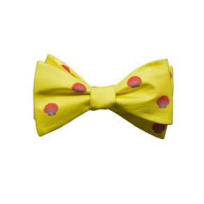 Sea Shell Bow Tie - Red, Printed Silk