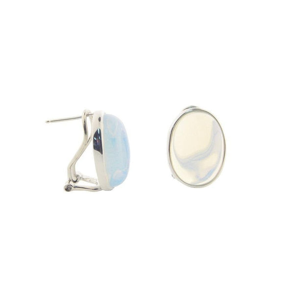 Oval Opal Crystal Cabuchon Clip Earrings  in Sterling Silver