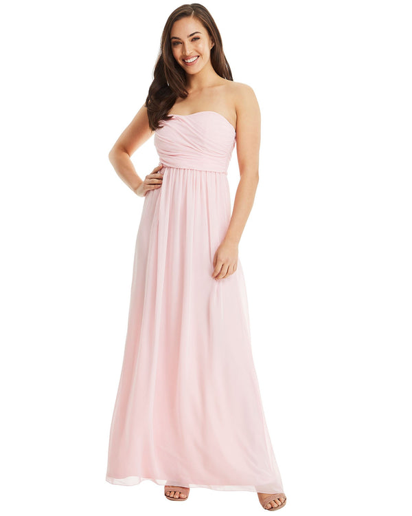 Strapless Chiffon Evening Dress - Pink