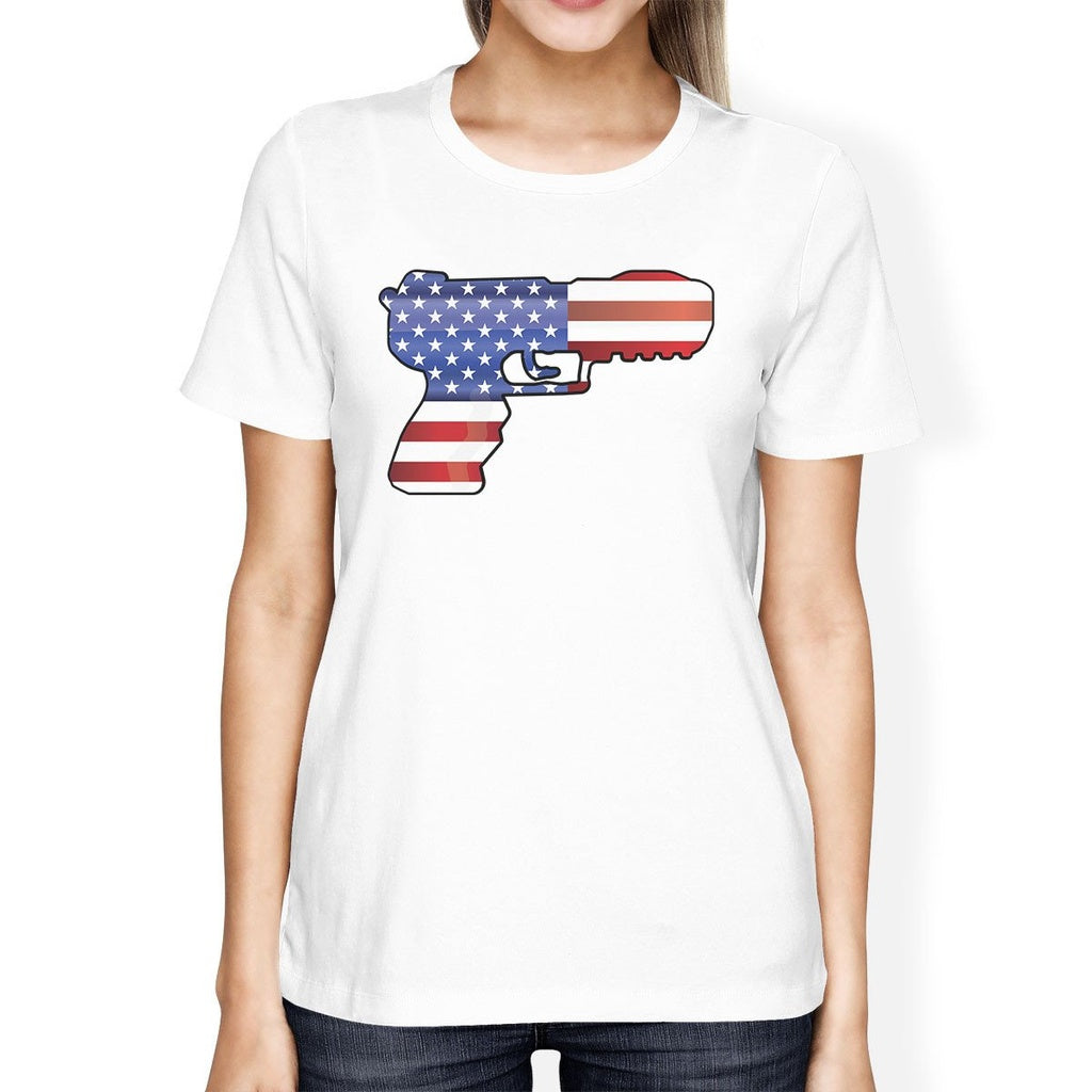 American Flag Pistol Womens White Short Sleeve Tee For 4th Of July