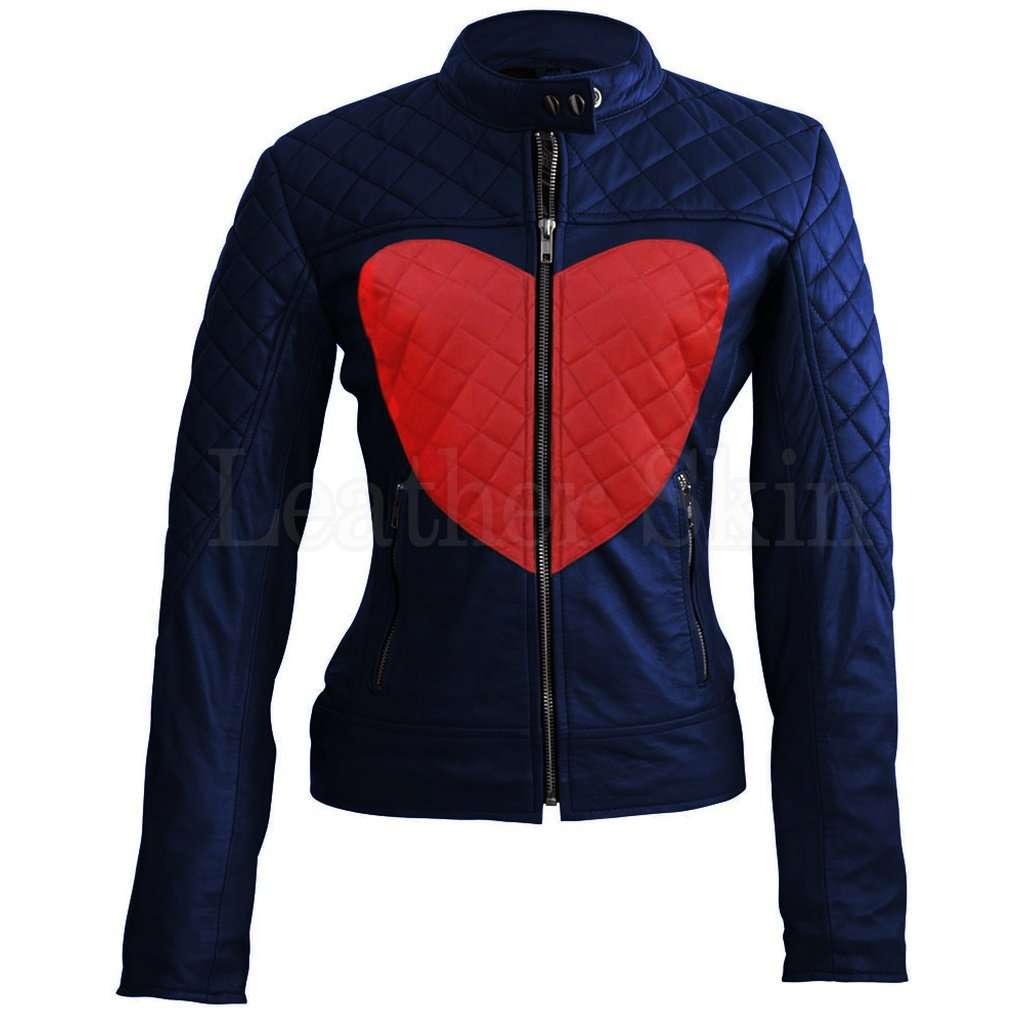 Women Blue Red Heart Leather Jacket