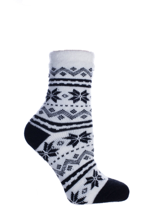 "Women's Double Layer Non-Skid Soft & Fuzzy Shea Butter Infused Slipper Socks, ""Snowflakes"""