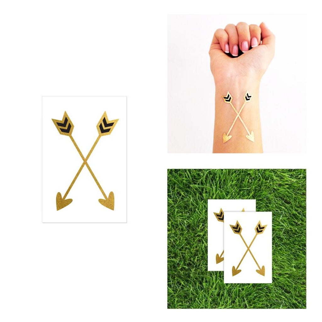 2 pack Crossed Arrows Hearts Metallic Temporary Tattoo