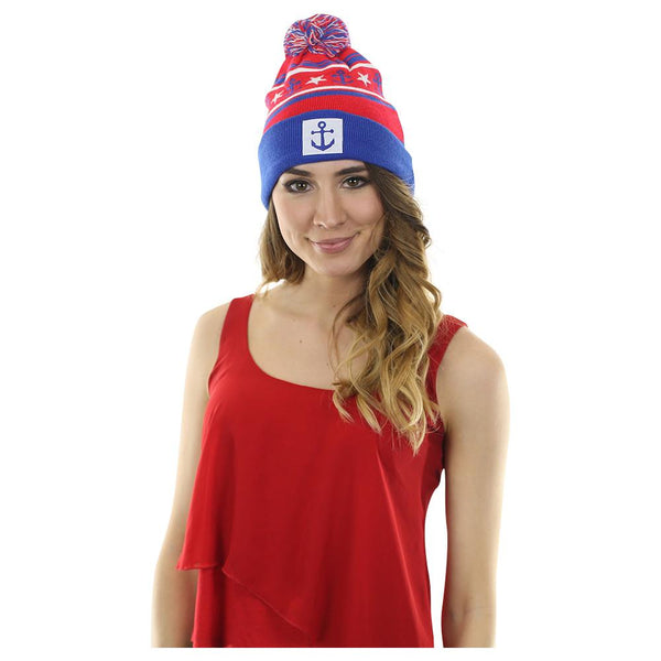 Anchor Winter Hat - Red, White, Blue with White Anchor Patch