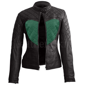 Women Black Heart Quilted Leather Jacket