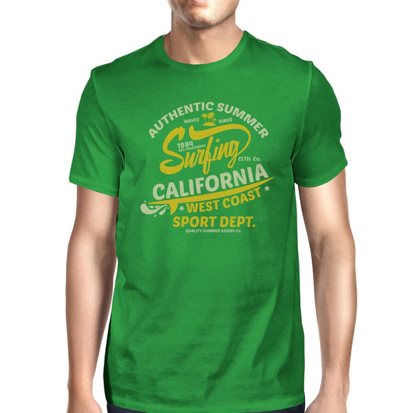 Authentic Summer Surfing California Mens Green Shirt