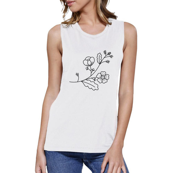 Flower White Muscle Tee Unique Summer Sleeveless Shirt For Women