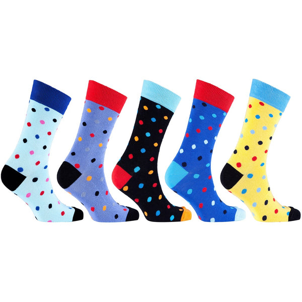 Men'S 5-Pair Colorful Polka Dot Socks-3012