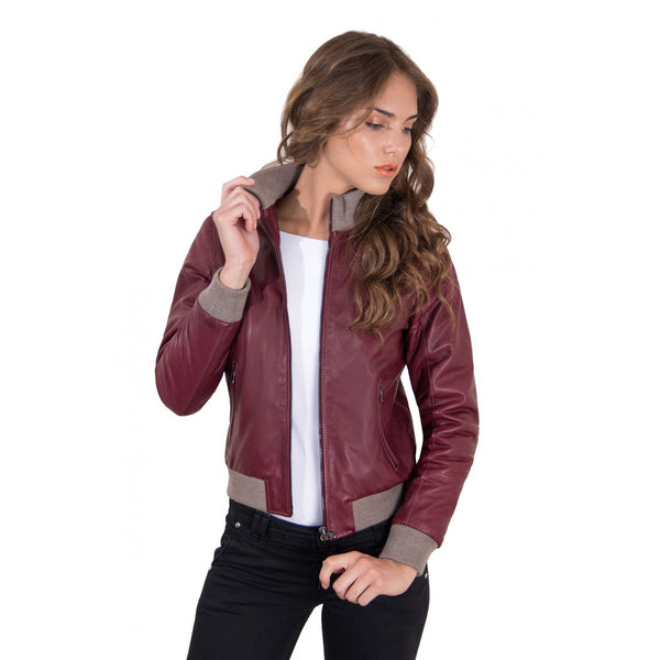 Women's Leather Jacket with central zip red purple color G155