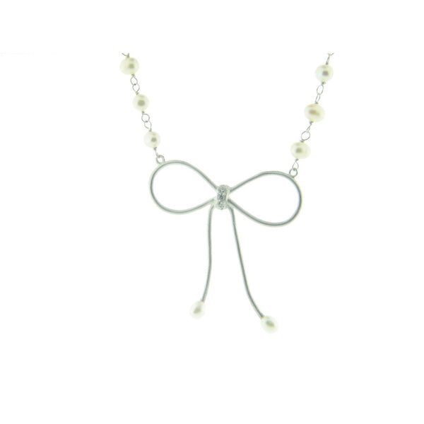 Bow Pendant Mini Pearl Necklace and Cz Sterling Silver