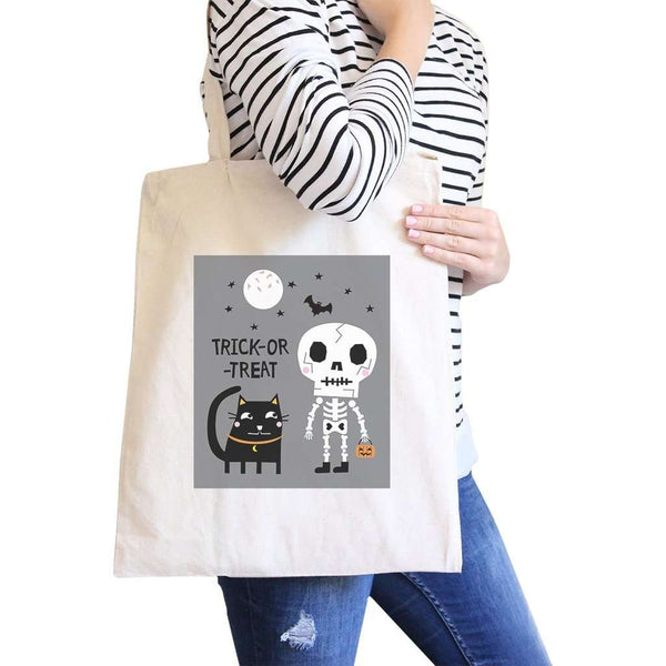 Trick-Or-Treat Skeleton Black Cat Natural Canvas Bags