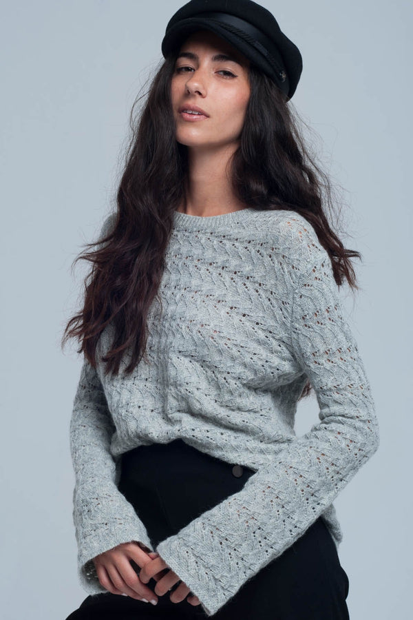 Knitted grey sweater