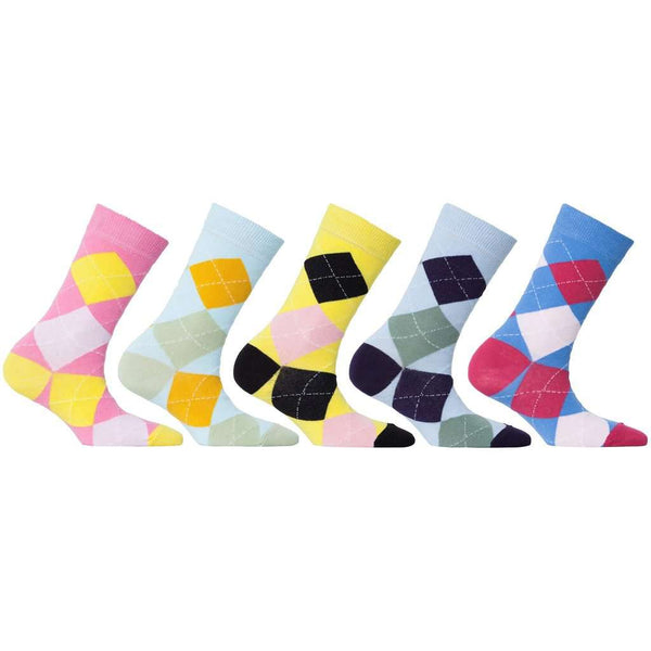 Womens 5-Pair Colorful Argyle Crew Socks - 6034
