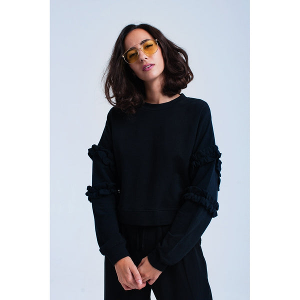 Black sweatshirt with ruffle details