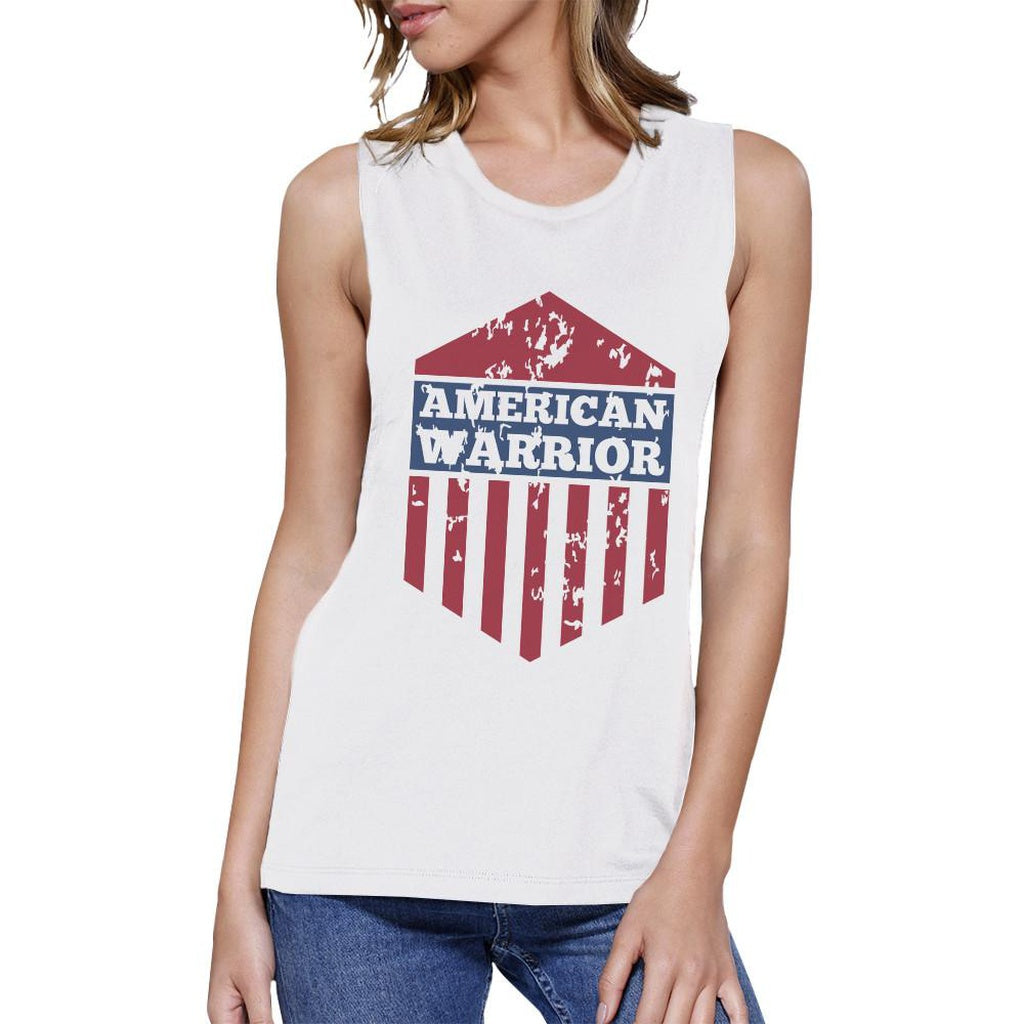 American Warrior White Crewneck Cotton Graphic Muscle Tee For Women