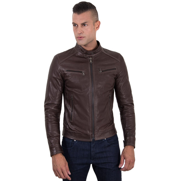 Men's Genuine Leather Biker Jacket brown Color