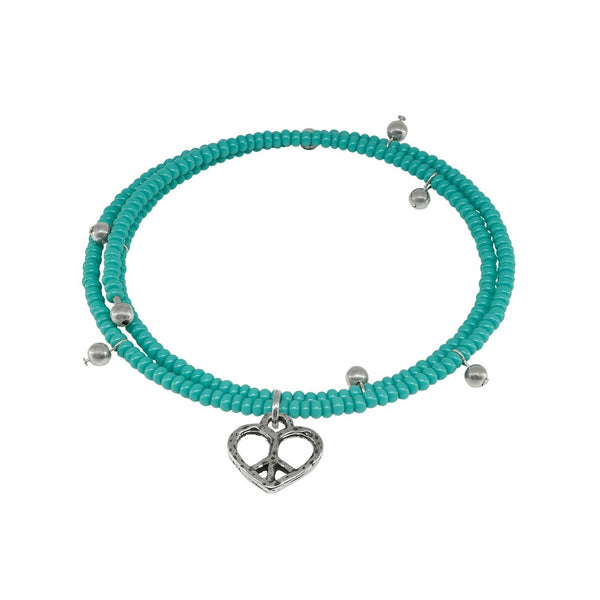 Fronay Co .925 Sterling Silver Memory Coil Turquoise Heart Charm Bracelet