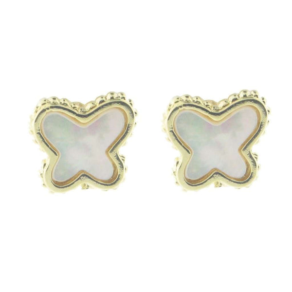 Sterling Silver Gold Plated Natural Mother of Pearl Butterfly Stud Earrings